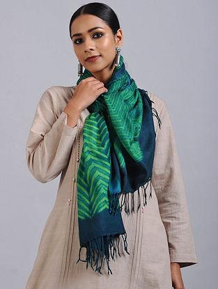 Green-Blue Shibori Dyed Wool Stole