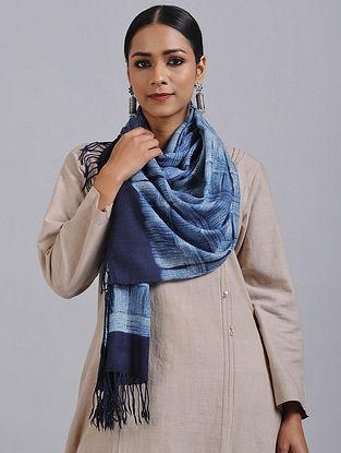 Blue Shibori Dyed Wool Stole