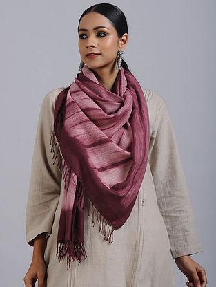 Maroon-Ivory Shibori Dyed Wool Stole