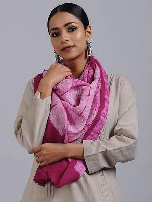 Pink-Ivory Shibori Dyed Wool Stole