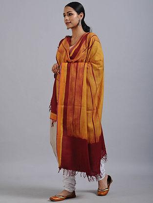 Yellow-Red Shibori Dyed Wool Shawl