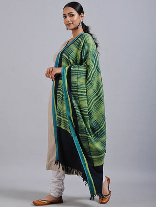Green-Blue Shibori Dyed Wool Shawl