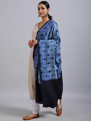 Blue Shibori Dyed Wool Shawl