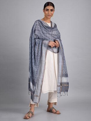 Grey-White Shibori Cotton Dupatta