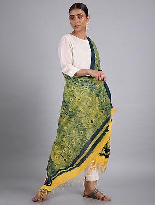 Yellow-Blue Shibori Cotton Dupatta