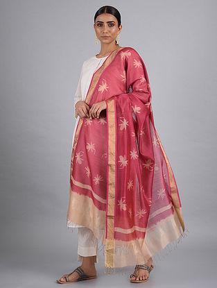 Pink-Beige Shibori Maheshwari Dupatta