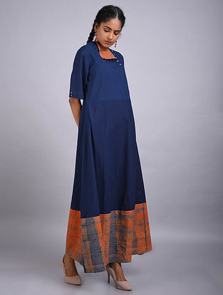 Orange Indigo Shibori Cotton Dress