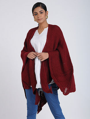 Red Hand-knitted Wool Wrap