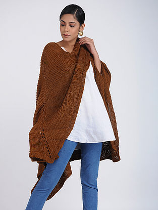 Brown Hand-knitted Wool Wrap