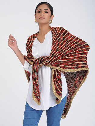 Red-Beige Hand-knitted Wool Wrap