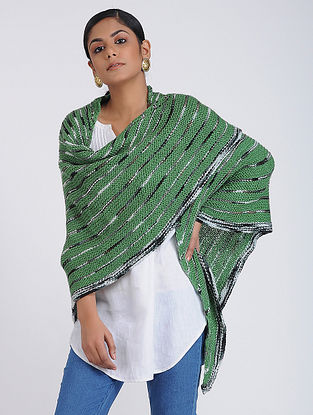 Green Hand-knitted Wool Wrap