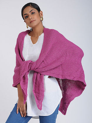 Pink Hand-knitted Wool Wrap
