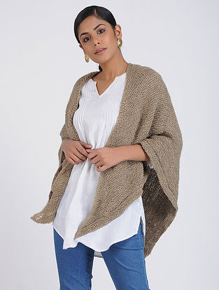 Beige Hand-knitted Wool Wrap