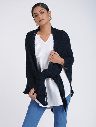 Blue Hand-knitted Wool Wrap
