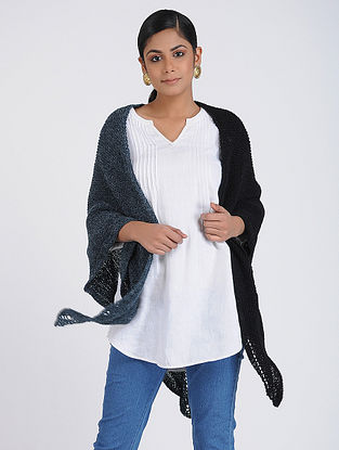 Grey-Black Hand-knitted Wool Wrap