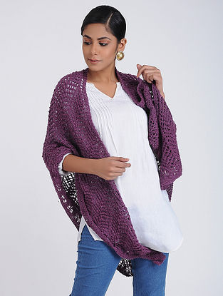 Purple Hand-knitted Wool Wrap