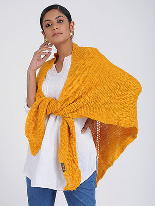Yellow Hand-knitted Wool Wrap