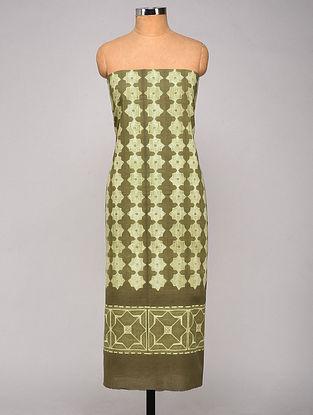 Green-Ivory Shibori dyed Cotton Kurta Fabric
