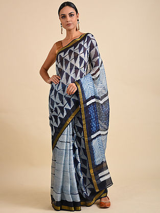 Blue Shibori Dyed Kota Silk Saree