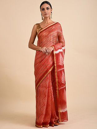 Red Shibori Dyed Kota Silk Saree