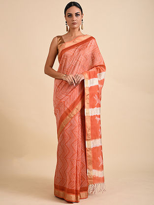 Orange-Ivory Shibori Dyed Maheshwari Saree