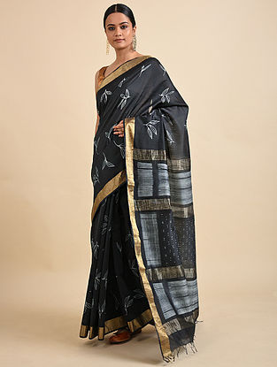 Black-Ivory Shibori Dyed Maheshwari Saree
