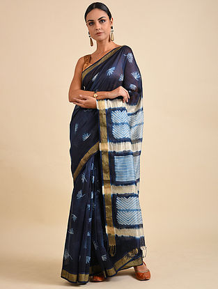 Blue-Cream Shibori Dyed Maheshwari Saree