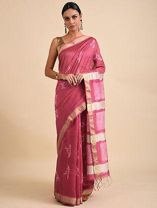 Pink-Ivory Shibori Dyed Maheshwari Saree