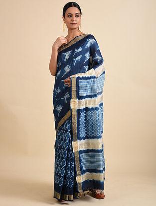 Blue-Ivory Shibori Dyed Maheshwari Saree