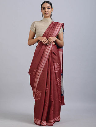 Red-Ivory Shibori Dyed Tussar Silk Saree