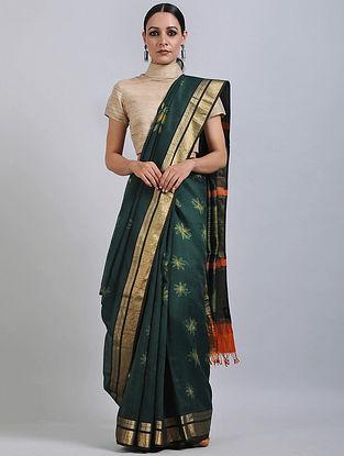 Green Shibori Dyed Maheshwari Saree with Zari