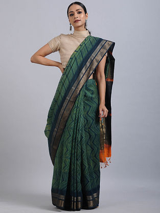 Green-Blue Shibori Dyed Maheshwari Saree with Zari