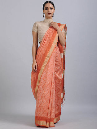 Orange-Ivory Shibori Dyed Maheshwari Saree with Zari