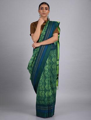 Green-Blue Shibori Maheshwari Saree