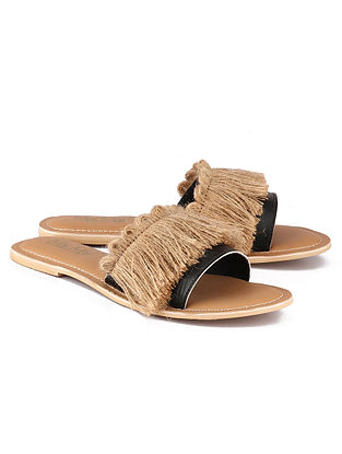 Black Beige Handcrafted Leather Flats