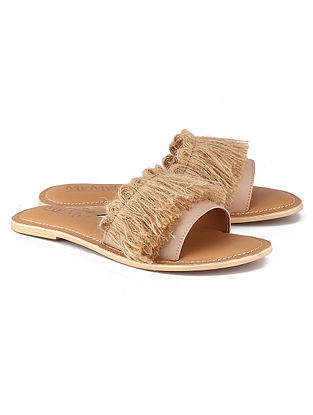 Beige Pink Hancrafted Leather Flats