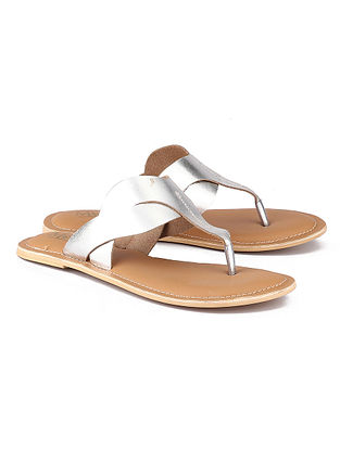 Silver Handcrafted Leather Flats
