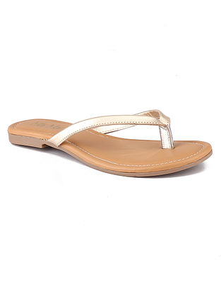 Dull Gold Handcrafted Leather Flats