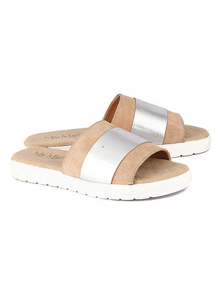 Beige Silver Handcrafted Leather Flats