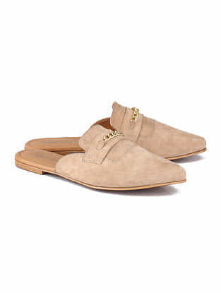 Beige Handcrafted Leather Mules