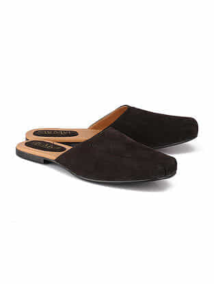 Black Handcrafted Leather Mules