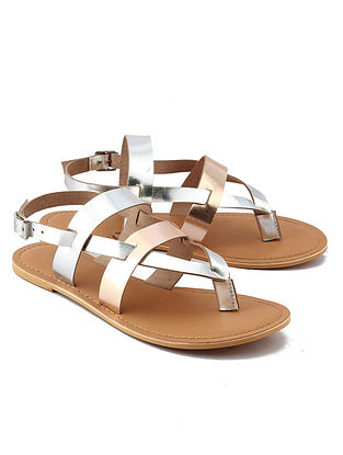 Rose Gold Silver Handcrafted Leather Sandals