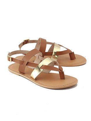 Brown Golden Handcrafted Leather Sandals