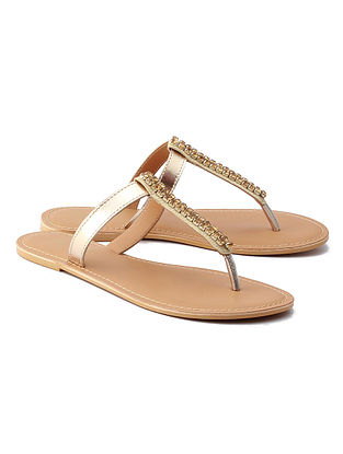 Dull Golden Handcrafted Leather Flats