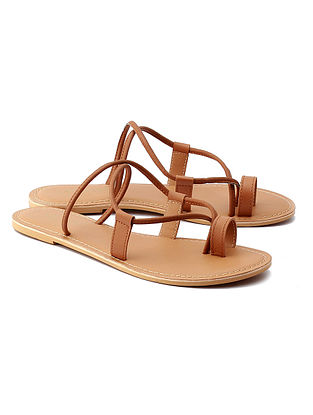 Tan Brown Handcrafted Leather Flats