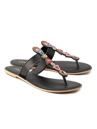 Multicolored Beaded Black Handcrafted Leather Flats
