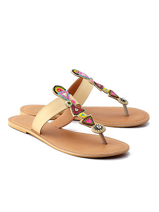 Multicolored Beige Handcrafted Leather Flats