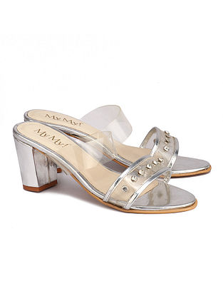Silver Handcrafted Polyester Block Heels