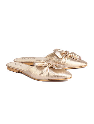Gold Handcrafted Faux Leather Mules
