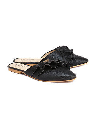 Black Handcrafted Faux Leather Mules